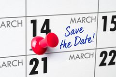 March 14. Wall calendar with a red pin - March 14 Royalty Free Stock Image