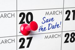 March 20. Wall calendar with a red pin - March 20 royalty free stock images