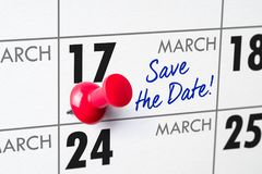 March 17. Wall calendar with a red pin - March 17 Royalty Free Stock Image