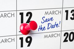 March 12. Wall calendar with a red pin - March 12 Royalty Free Stock Photo
