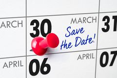 March 30. Wall calendar with a red pin - March 30 Stock Photography