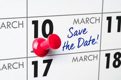 March 10. Wall calendar with a red pin - March 10 stock photography