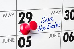 Wall calendar with a red pin - May 29 Royalty Free Stock Image