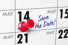 Wall calendar with a red pin - May 14 Stock Photos