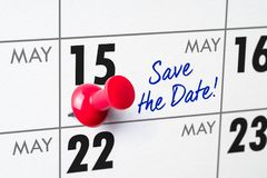 Wall calendar with a red pin - May 15 Stock Photography