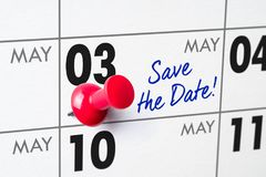 Wall calendar with a red pin - May 03 Stock Images