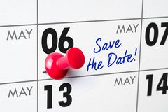 Wall calendar with a red pin - May 06 Stock Photos