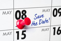 Wall calendar with a red pin - May 08 Royalty Free Stock Images