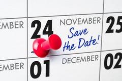November 24. Wall calendar with a red pin - November 24 stock photos
