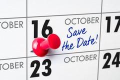 October 16. Wall calendar with a red pin - October 16 Royalty Free Stock Photos