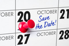 October 20. Wall calendar with a red pin - October 20 stock photography