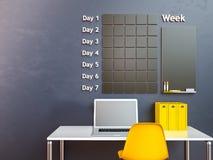 Wall calendar. Schedule memo management organizer concept. 3d rendering interior. Wall calendar. Schedule memo management organizer concept Stock Photos