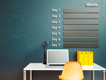 Wall calendar. Schedule memo management organizer concept. 3d rendering interior Royalty Free Stock Photo
