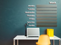 Wall calendar. Schedule memo management organizer concept. 3d rendering interior Royalty Free Stock Image