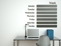 Wall calendar. Schedule memo management organizer concept. 3d rendering interior Royalty Free Stock Photos