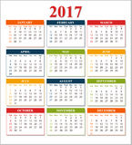 Wall Calendar for 2017 from Sunday to Saturday Royalty Free Stock Photos