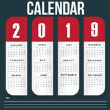 Wall Calendar Template for 2019 Year royalty free stock photography