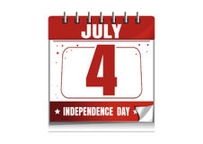 Wall calendar. 4 th July. US Independence Day. American Independence Day. Wall calendar. 4 th July. Independence Day calendar. Calendar  on white background Royalty Free Stock Photos