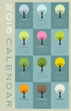 2016 wall calendar with trees. 2016 wall calendar with seasonal tree icons Stock Images