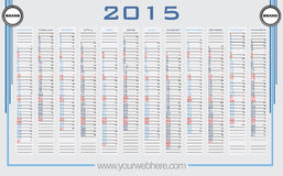 2015 Wall Calendar Vector Royalty Free Stock Images