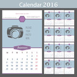 Wall Calendar 2016. Vector Template with Place for. Photo. 12 Months. Vector template design Stock Image
