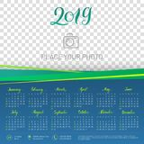 Wall calendar 2019 year, copy space atop. Transparent background. Chart with empty backdrop for photos. Vector illustration menology with decorative elements Royalty Free Stock Photography