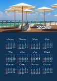 Wall calendar for 2019 year, single page with photo. Yearly wall calendar, 2019 year with nature photo, Week starts from sunday, single page calendar, A3 size royalty free stock images