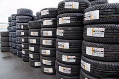 Wall of car tires Stock Photos