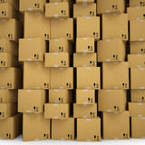 The wall of cardboard boxes. Render on a white background Stock Images
