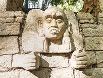 Wall Carved Mayan God Royalty Free Stock Images