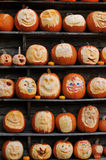 Wall of carved pumpkins Stock Photography