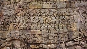 Wall Carving at Angkor Wat Royalty Free Stock Photography