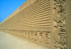 Wall carving, Chan Chan, Perù Royalty Free Stock Images