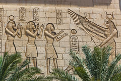 Wall carving on Egyptian temple. Egyptian Arts Sculpture Wall carving on Egyptian temple Royalty Free Stock Photography