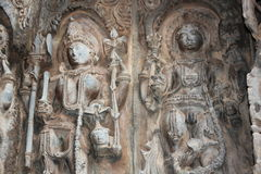 Hoysaleswara Temple wall carving of hindu male gods. This is a wall carving of hindu male gods. This carving is in Hoysaleswar temple, Halebidu, Karnataka, India Royalty Free Stock Photography