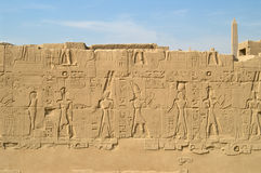 Wall with carving in Karnak stock photography