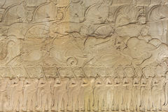 Wall Carving at Prasat Bayon Temple In Angkor Thom, Cambodia Stock Photography