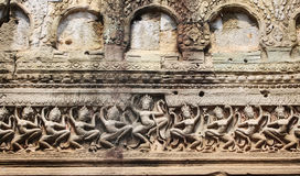 Wall carving of Preah Khan Temple, Angkor Wat complex, Siem Reap Stock Photography