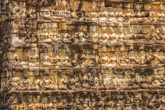 Wall Carvings in Angkor Wat Cambodia Royalty Free Stock Photo