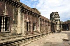 Wall with carvings at Angkor Wat Temple Royalty Free Stock Image