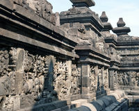 The wall carvings of Borobodur Stock Photography