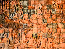 Wall carvings buddha. stock photos