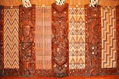 Wall carvings at a Maori meeting house Royalty Free Stock Image