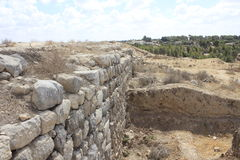 Wall of Castel and Fortress at the Ancient Biblical city of Lachish, today Tel Lachish. Wall of Castel and Fortress of Rehoboam in the Ancient Biblical city of Stock Photo