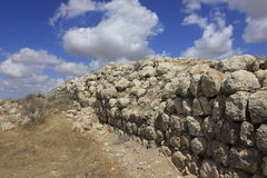 Wall of Castel and Fortress at the Ancient Biblical city of Lachish, today Tel Lachish. Wall of Castel and Fortress of Rehoboam in the Ancient Biblical city of Royalty Free Stock Photo