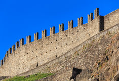 Wall of the Castelgrande fortress in Bellinzona, Switzerland. The fortress is a UNESCO World Heritage Site and also belongs to the Swiss Inventory of Cultural Stock Photos