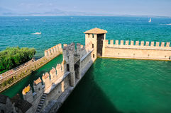 Wall of castle on lake Garda in Sirmione, Italy Royalty Free Stock Images