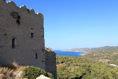 Wall castle of Monolithos Royalty Free Stock Photos