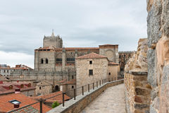 Wall and Cathedral of Avila, Spain Royalty Free Stock Image