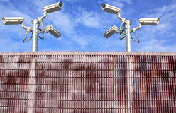 Wall and cctv camera securities Royalty Free Stock Image
